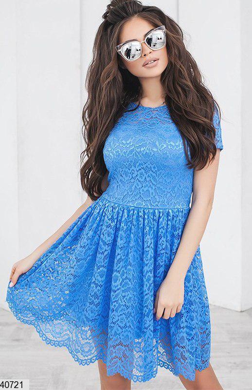 Красивое платье короткое юбка солнце клеш короткий рукав цвет джинс