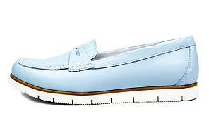 Голубые женские кожаные лоферы LEONY