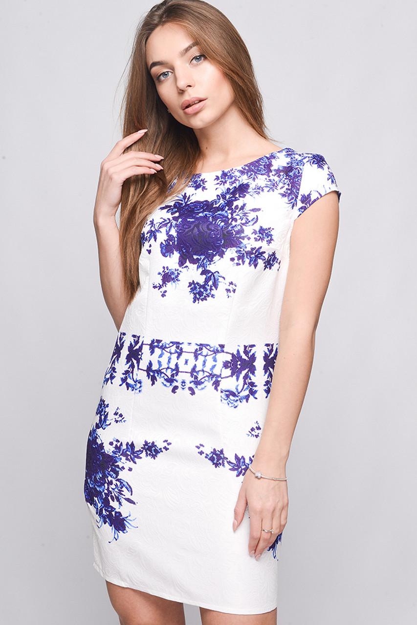 Платье KP-5623-19 Сирень-белый