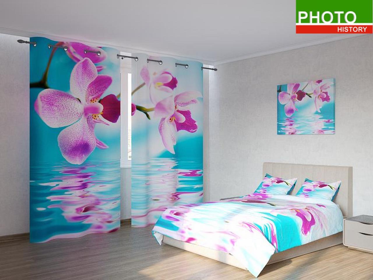 Фотокомплекты розовая орхидея на синем фоне
