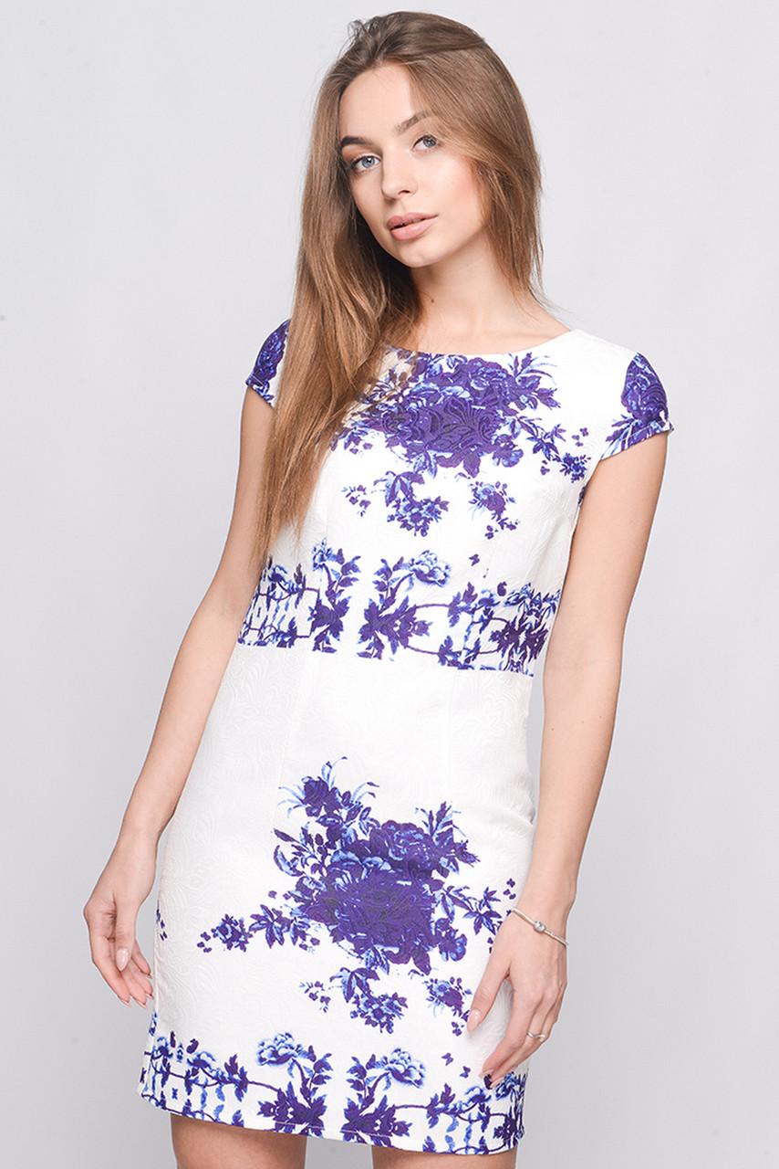 Платье KP-5623-23 Белый-сирень