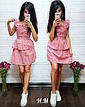Женское летнее хлопковое платье с поясом в клетку (2 цвета), фото 4