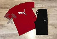 Комплект шорты и футболка пума, черные шорты и красная футболка Puma (реплика)