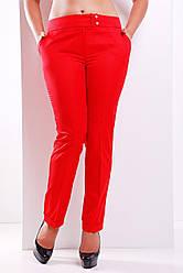 Женские классические брюки с подворотами Хилори красные большие размеры