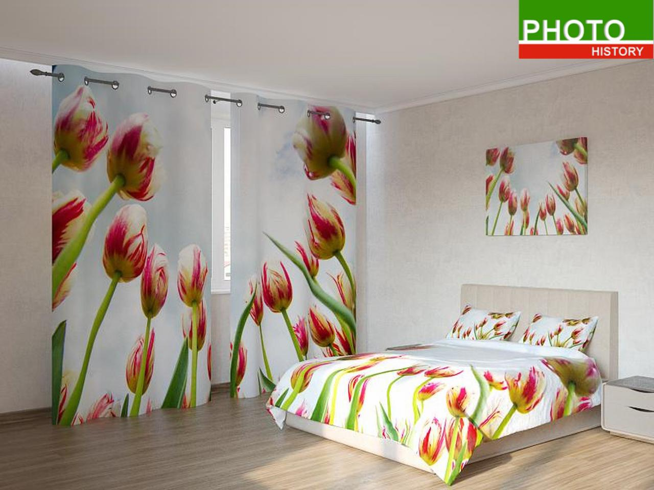 Фотокомплекты красно - белые тюльпаны