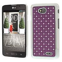 Чехол накладка для LG L70 Dual D325, D320 со стразами, фиолетовый