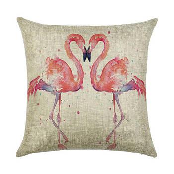 Подушка декоративная Влюбленные фламинго 45 х 45 см Berni