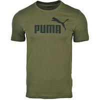 Футболка спортивная мужская Puma No.1 Logo Tee 838241 73 (оливковая, хлопок, на каждый день, с логотипом пума)