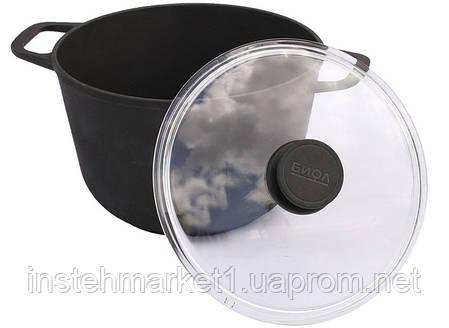 Кастрюля БИОЛ 0206С (6 л) чугунный со стеклянной крышкой, фото 2