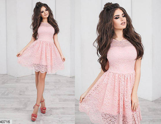Нежное платье короткое юбка солнце клеш короткий рукав розовое, фото 2