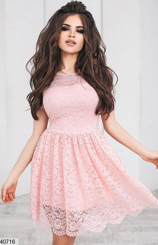 Нежное платье короткое юбка солнце клеш короткий рукав розовое