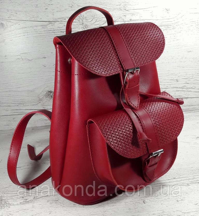 127 Натуральная кожа Городской кожаный женский рюкзак красный сумка-рюкзак из натуральной кожи красная