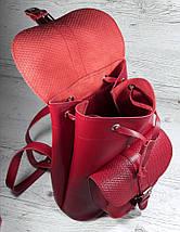 127 Натуральная кожа Городской кожаный женский рюкзак красный сумка-рюкзак из натуральной кожи красная, фото 3