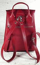 127 Натуральная кожа Городской рюкзак красный Кожаный рюкзак Из натуральной кожи Рюкзак женский красный рюкзак, фото 2
