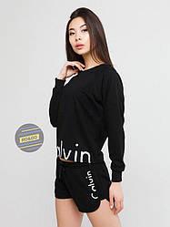Женский комплект свитшот + шорты Calvin Klein черного цвета