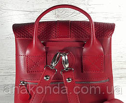 127 Натуральная кожа Городской рюкзак красный Кожаный рюкзак Из натуральной кожи Рюкзак женский красный рюкзак, фото 3