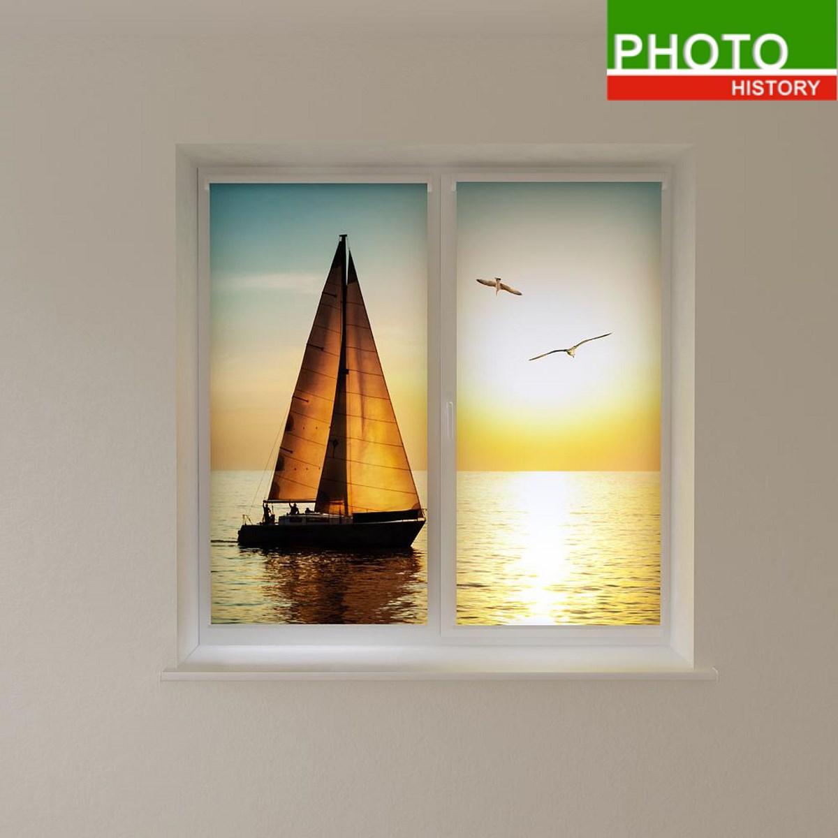 Рулонные шторы с фотопечатью яхта