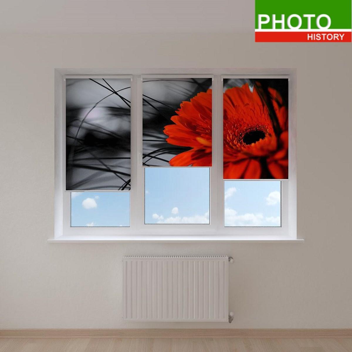 Рулонные шторы красный цветок на черном фоне