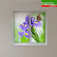 Рулонные шторы фиолетовые цветы