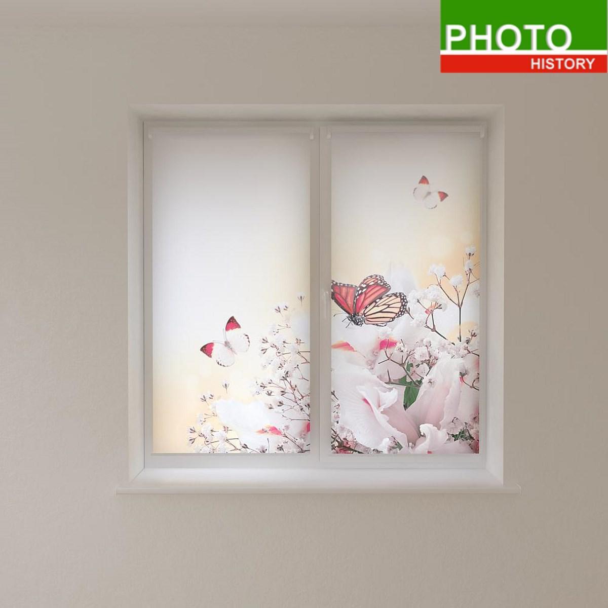 Рулонні штори з фотодруком метелики на білих кольорах