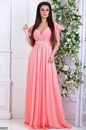 Красивое длинное платье от груди свободное камни рукав короткий рюши персиковое, фото 2