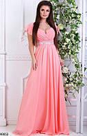 Красивое длинное платье от груди свободное камни рукав короткий рюши персиковое