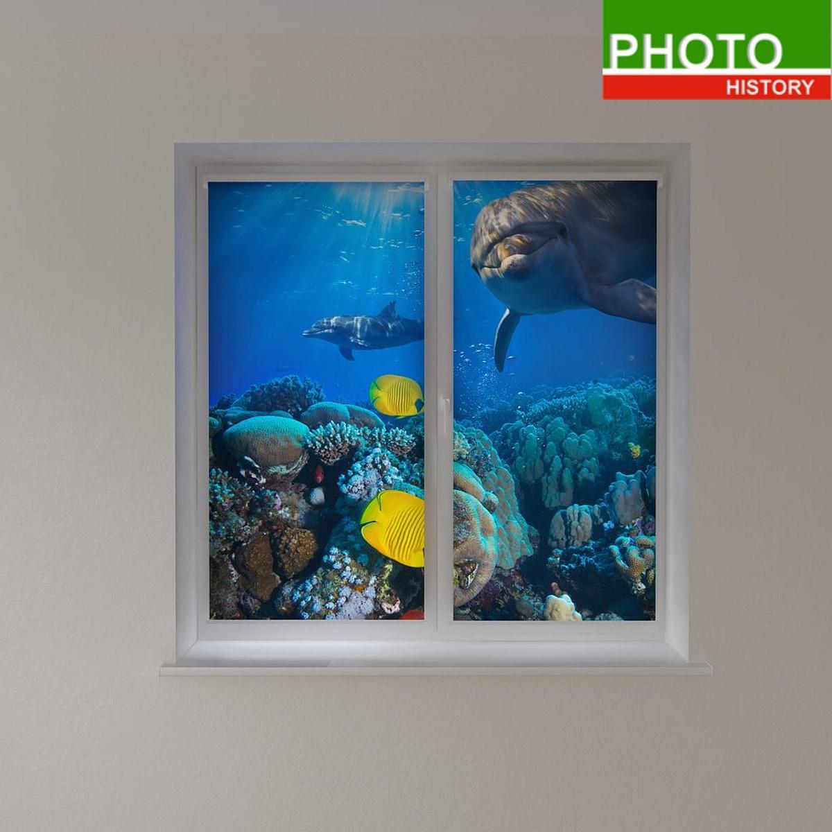 Рулонные фотошторы подводный мир
