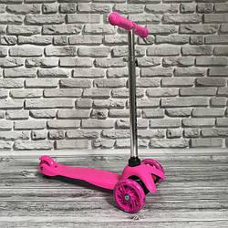Детский трехколёсный самокат со светом колёс MINI 905 розовый