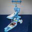 Детский самокат беговел 3 в 1 02B.Светящаяся платформа+музыка. Голубой , фото 3