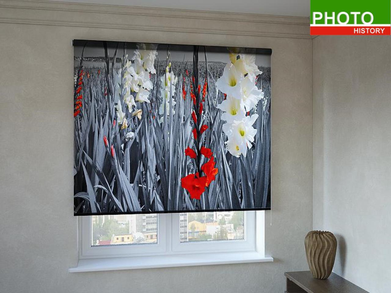 Рулонные шторы с фотопечатью гладиолусы
