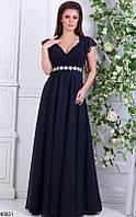Длинное платье свободного кроя от груди на поясе камни короткий рукав темно синее