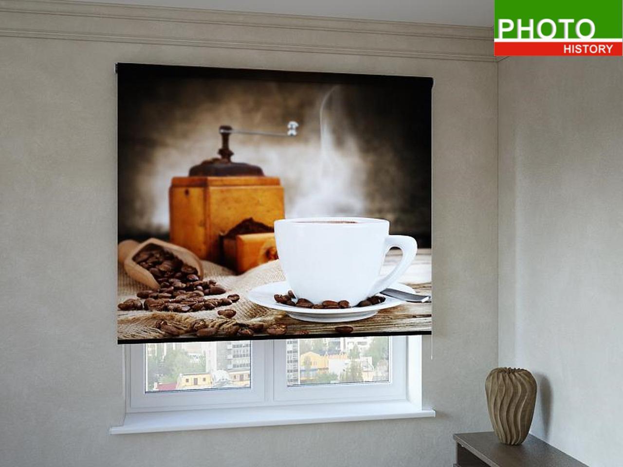 Рулонные шторы с фотопечатью ароматный кофе
