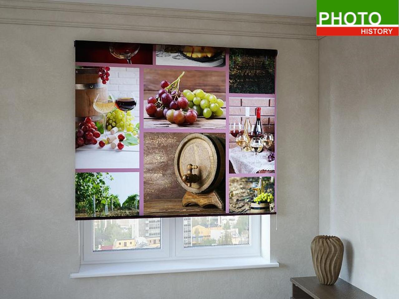 Рулонные шторы с фотопечатью винная композиция