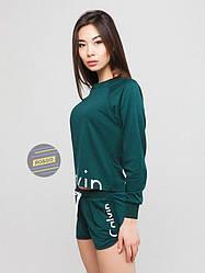 Женский комплект свитшот + шорты Calvin Klein зеленого цвета