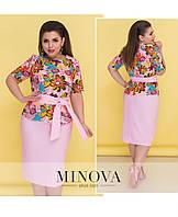 Костюм женский льняной, юбка карандаш и блуза. Размер 50, 52, 54, 56, 58, 60. В наличии 2 цвета, фото 1