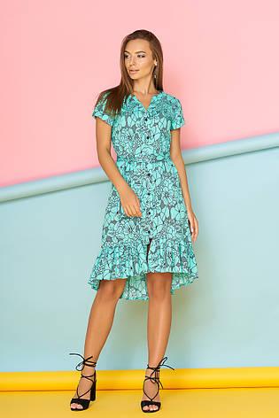"""Хлопковое женское платье-рубашка с рюшами и поясом """"Либерти"""" (ментоловое), фото 2"""