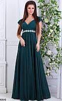 Элегантное платье в пол от груди свободное со стразами короткий рукав рюши цвет бутылка