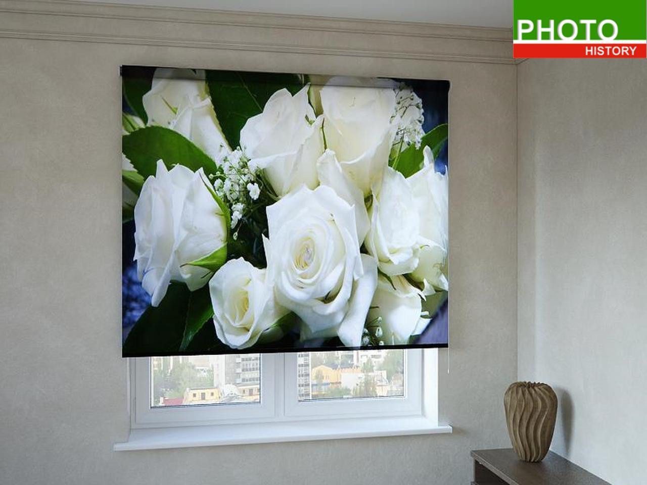 Рулонные шторы с фотопечатью белые розы