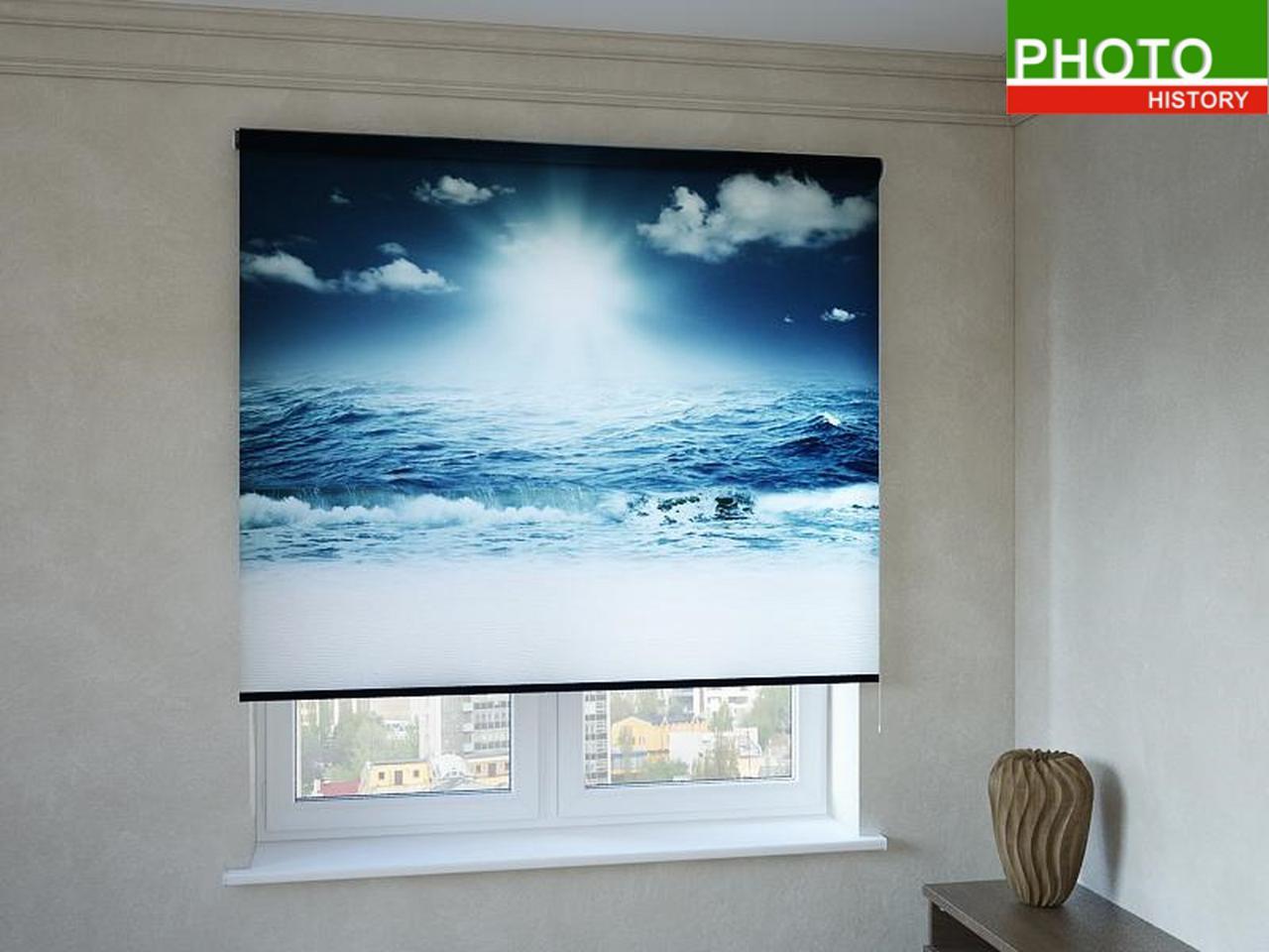 Рулонные шторы с фотопечатью морские волны