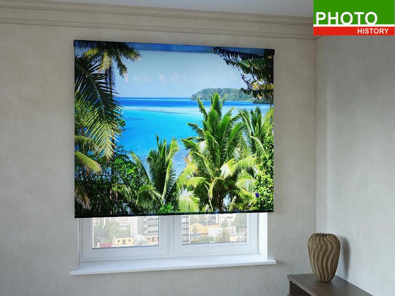 Рулонные шторы с фотопечатью бирюзовый залив