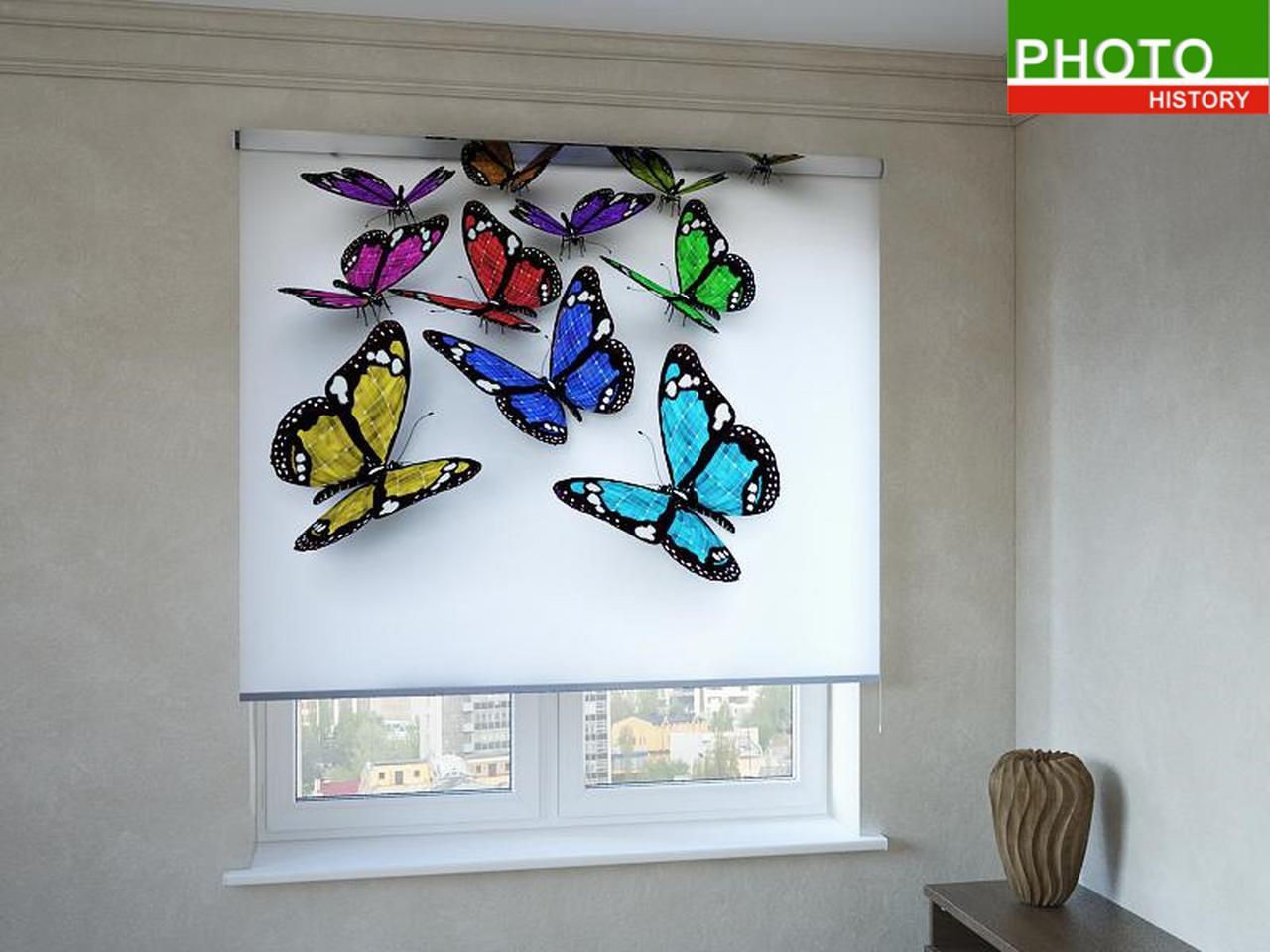 Рулонные шторы с фотопечатью бабочки