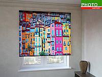 Рулонные шторы с фотопечатью цветные домики