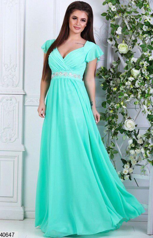 Красивое платье в пол от груди свободного кроя короткий рукав с воланом мятное