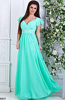 a91bdaaf29f Красивое платье в пол от груди свободного кроя короткий рукав с воланом  мятное