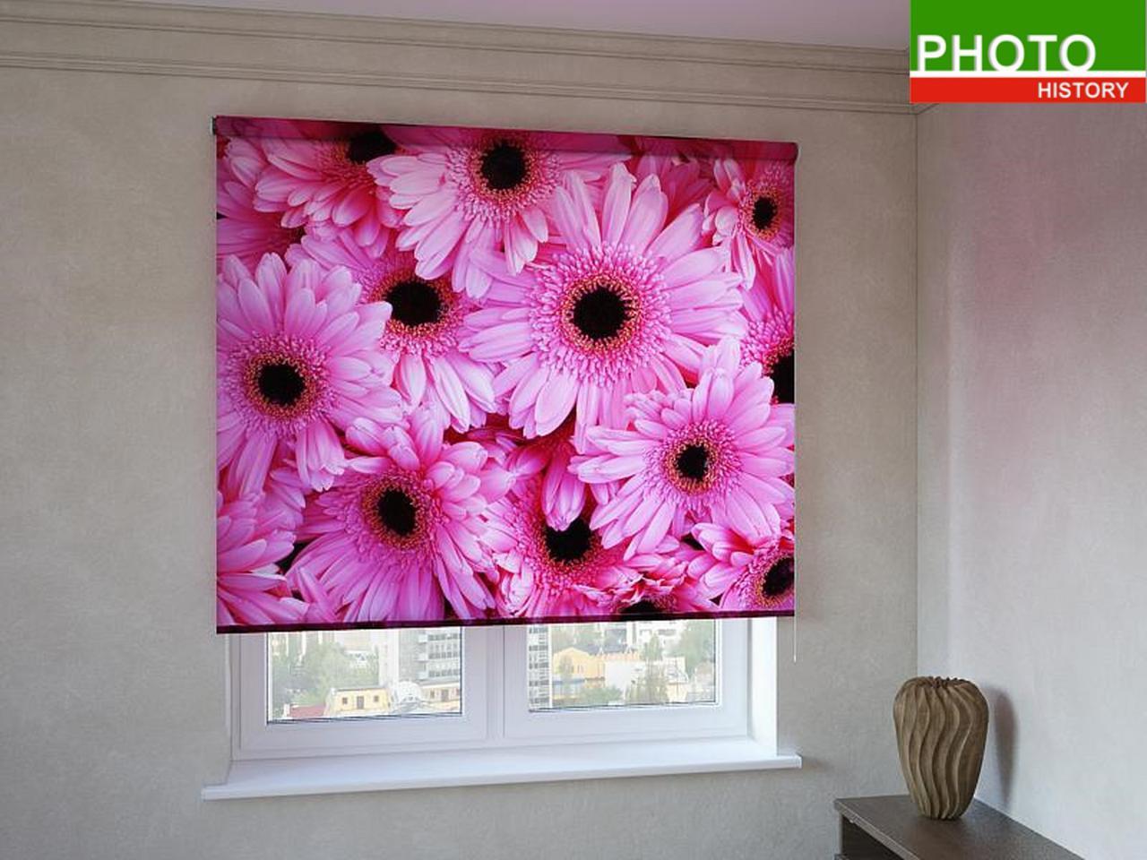 Рулонные шторы с фотопечатью герберы розовые