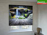 Рулонные шторы с фотопечатью водопад в лесу