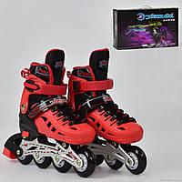 Роликовые коньки (ролики) детские раздвижные A24912 размер 35-38 красные