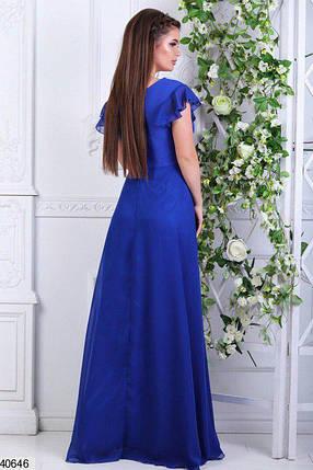 Красивое платье от груди свободное в пол декольте глубокое со стразами электрик, фото 2