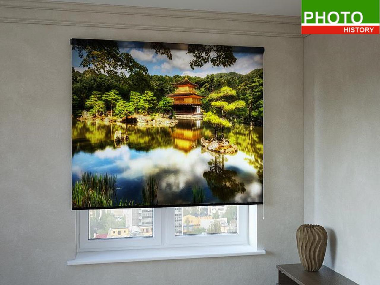 Рулонные шторы с фотопечатью китайский домик в лесу