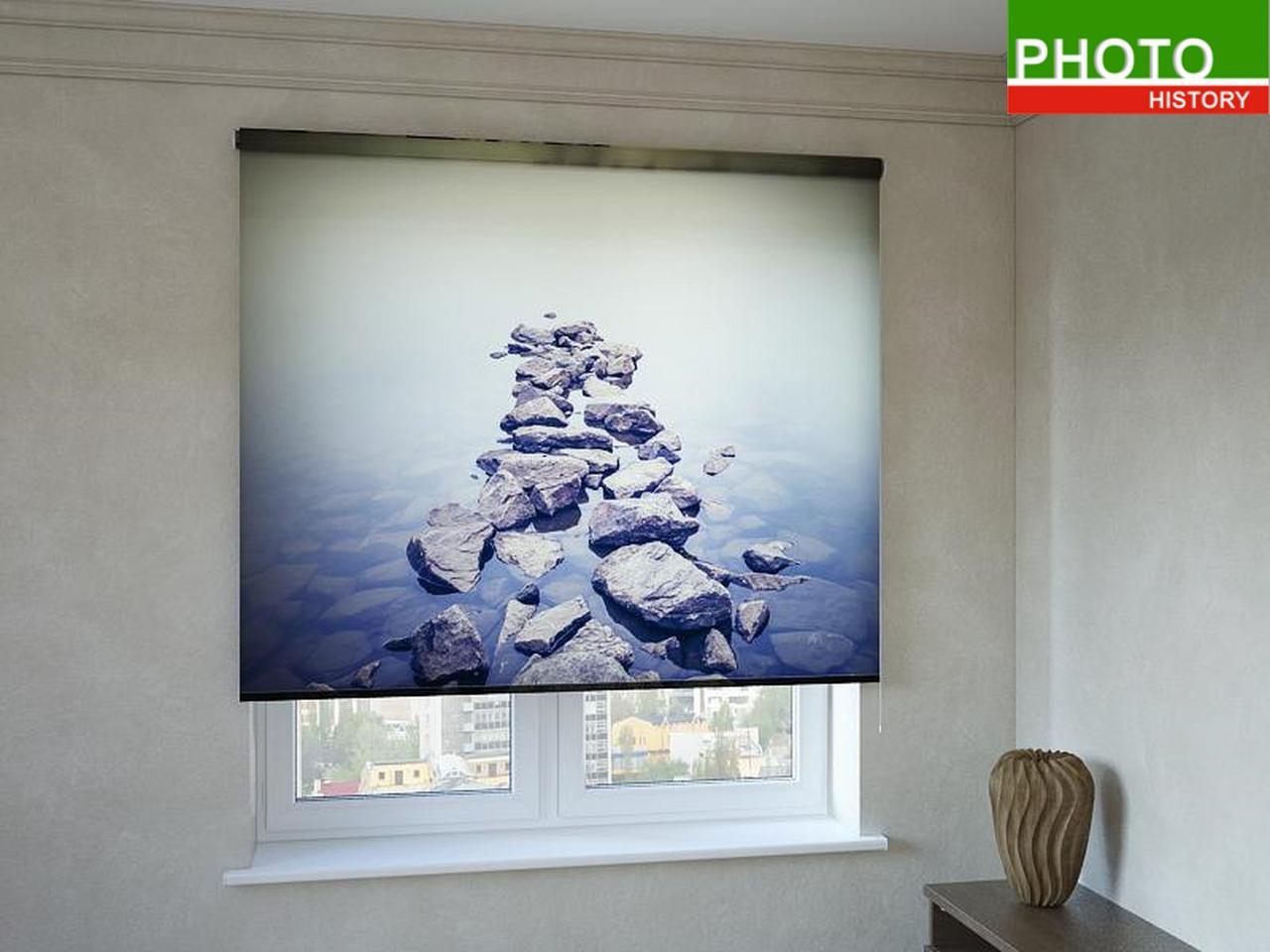 Рулонные шторы с фотопечатью камни в воде